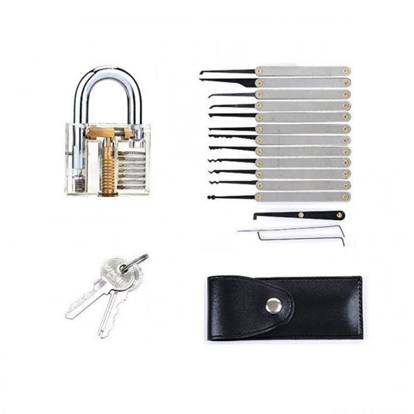 Lockpicking Set mit transparentem Schloss
